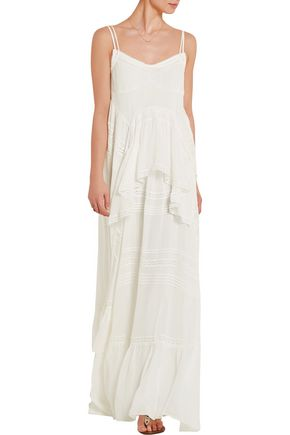 NEEDLE & THREAD Victoriana lace-trimmed silk-chiffon maxi dress