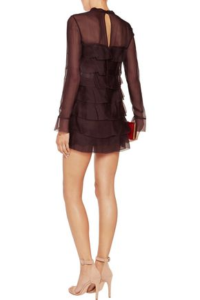 VALENTINO Tiered silk crepe de chine mini dress