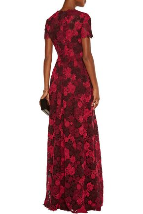 VALENTINO Cotton-blend guipure lace gown