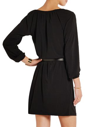 MICHAEL MICHAEL KORS Chain-trimmed belted stretch-jersey mini dress