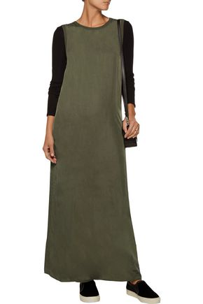 ENZA COSTA Jersey-trimmed washed-satin maxi dress