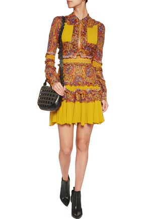 JUST CAVALLI Printed plissé silk mini dress