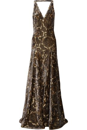 ETRO Open-back metallic flocked jacquard gown