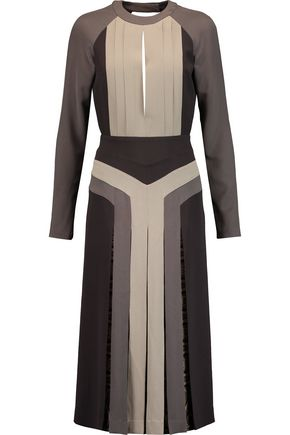 ETRO Open-back color-block silk crepe de chine midi dress