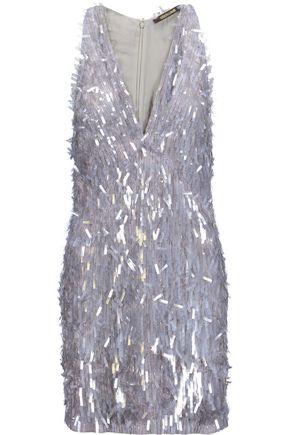ROBERTO CAVALLI Embellished silk-georgette mini dress