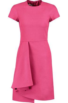 VALENTINO Pleated wool and silk-blend crepe mini dress