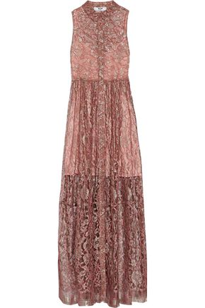 MSGM Pleated metallic guipure lace gown