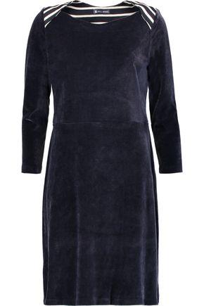 PETIT BATEAU Striped cotton and modal-blend trimmed velvet dress