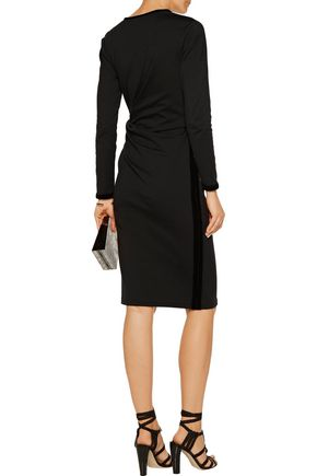 RAOUL Dilara draped velvet-trimmed cotton-blend jersey dress