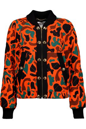 MOSCHINO Button-embellished quilted printed crepe jacket
