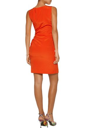 MOSCHINO Ruched silk-crepe dress