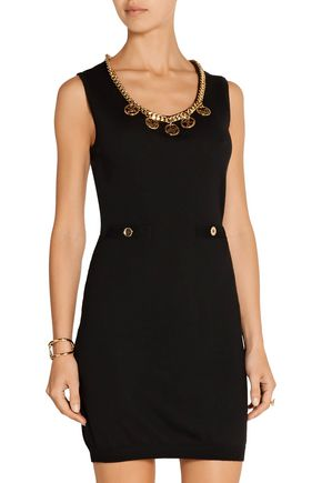 MOSCHINO Embellished wool mini dress