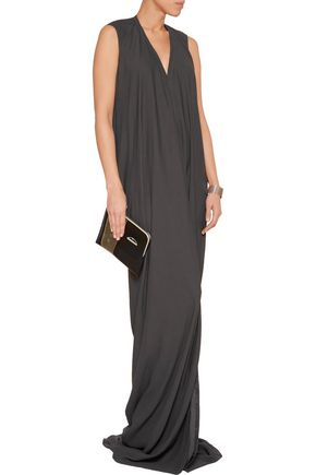 RICK OWENS Draped textured-crepe maxi dress