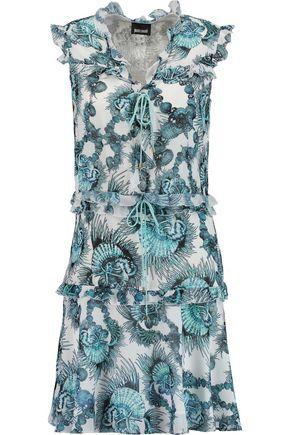 JUST CAVALLI Ruffled printed chiffon mini dress