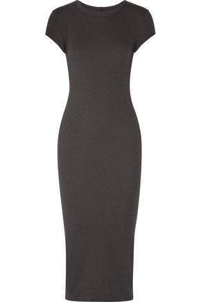 ENZA COSTA Ribbed stretch-cotton midi dress