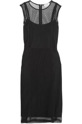 DKNY Paneled cotton-blend mesh dress