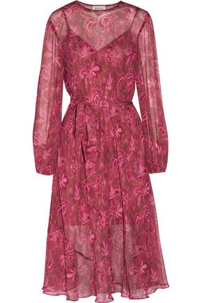 ZIMMERMANN Belted printed silk-georgette midi dress