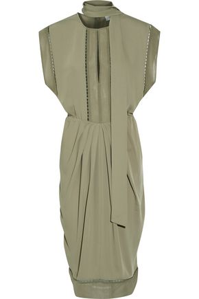 ZIMMERMANN Silk chiffon-paneled crepe midi dress