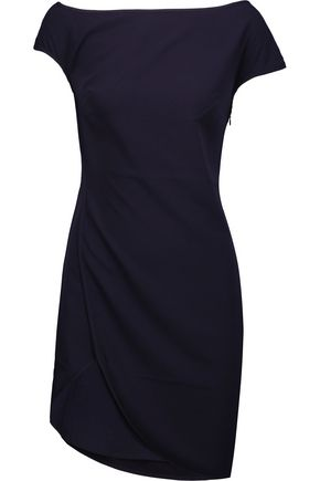 HALSTON HERITAGE One-shoulder wrap-effect crepe mini dress