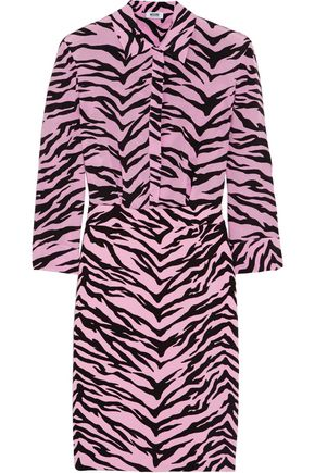 BOUTIQUE MOSCHINO Tiger-print silk-chiffon and crepe shirt dress