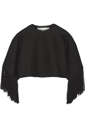 ADAM LIPPES Cropped fringed linen and cotton-blend tweed jacket