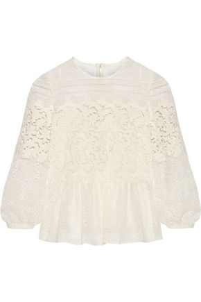 BURBERRY Paneled cotton-blend lace peplum blouse