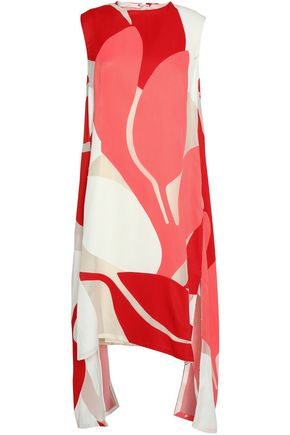 MARNI Printed mesh-paneled faille dress