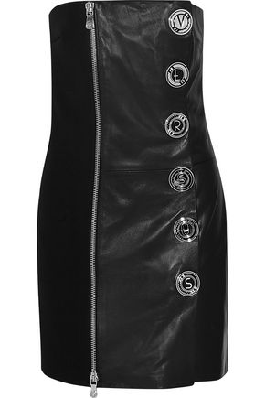 VERSUS Embellished crepe-paneled leather mini dress