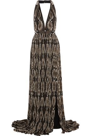 ROBERTO CAVALLI Snake-print plissé silk-georgette gown
