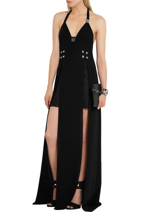 VERSUS Split-front lace and crepe maxi dress