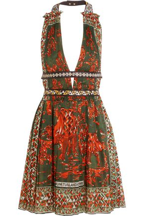 VALENTINO Leather-trimmed printed cotton halterneck mini dress