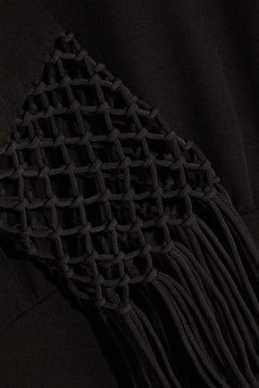 VALENTINO Fringed macramé-paneled silk-crepe dress