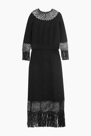 VALENTINO Fringed macramé-paneled silk-crepe dress