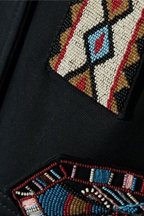 VALENTINO Double-breasted bead-embellished cotton-twill jacket