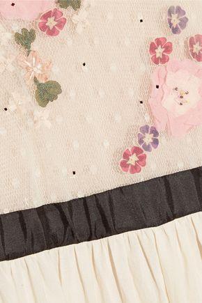 REDValentino Floral-appliquéd point d'esprit tulle and cotton-voile maxi dress