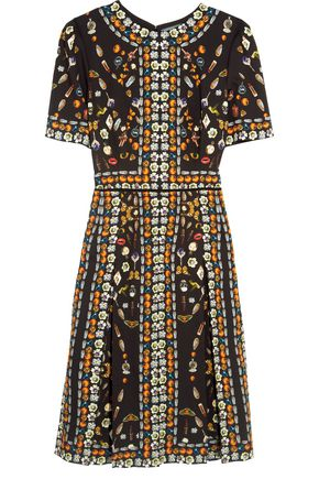 ALEXANDER MCQUEEN Pleated printed crepe dress