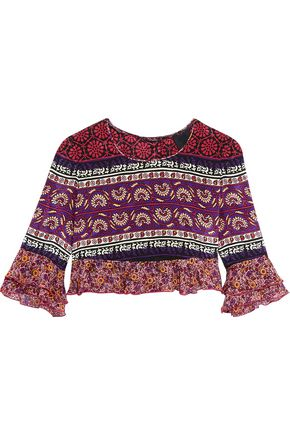 ANNA SUI Cropped ruffled printed silk and cotton-blend top