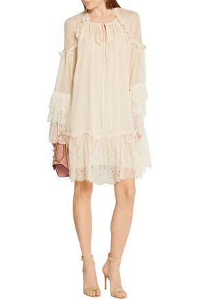 ROBERTO CAVALLI Lace-trimmed silk-georgette mini dress