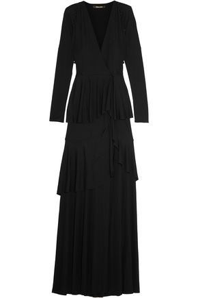 ROBERTO CAVALLI Tiered stretch-jersey wrap gown