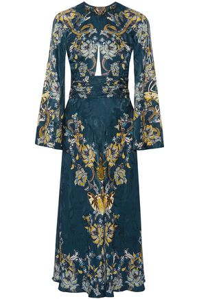 ROBERTO CAVALLI Embellished satin-jacquard midi dress