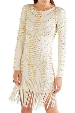 HERVÉ LÉGER Fringed embellished bandage mini dress