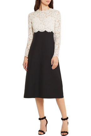 VALENTINO Lace and wool and silk-blend crepe midi dress