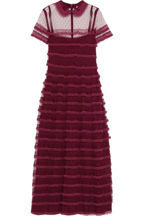 REDValentino Picot-trimmed point d'esprit midi dress