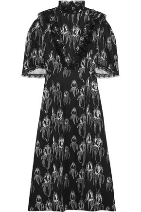 MIU MIU Ruffled printed satin midi dress