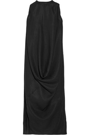 RICK OWENS Draped silk and wool-blend dress