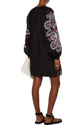 MARCH 11 Garden tasseled embroidered linen mini dress