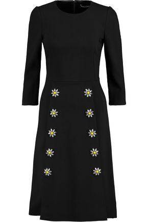 DOLCE & GABBANA Floral-appliquéd crystal-embellished crepe dress