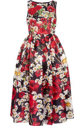 DOLCE & GABBANA Flared appliquéd floral-print silk dress