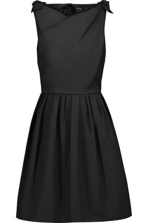 RAOUL Jeanette bow-embellished pleated cotton-poplin mini dress