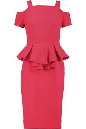 RAOUL Sloane cold-shoulder crepe peplum midi dress